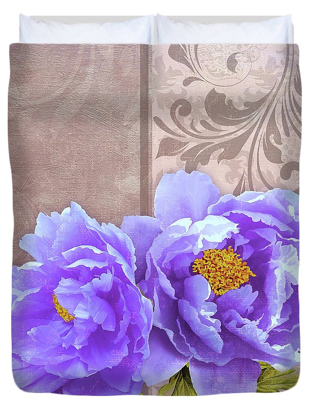 Flowers Duvet Cover featuring the painting Tryst, Lavender Blue Peonies Still Life Flowers by Tina Lavoie