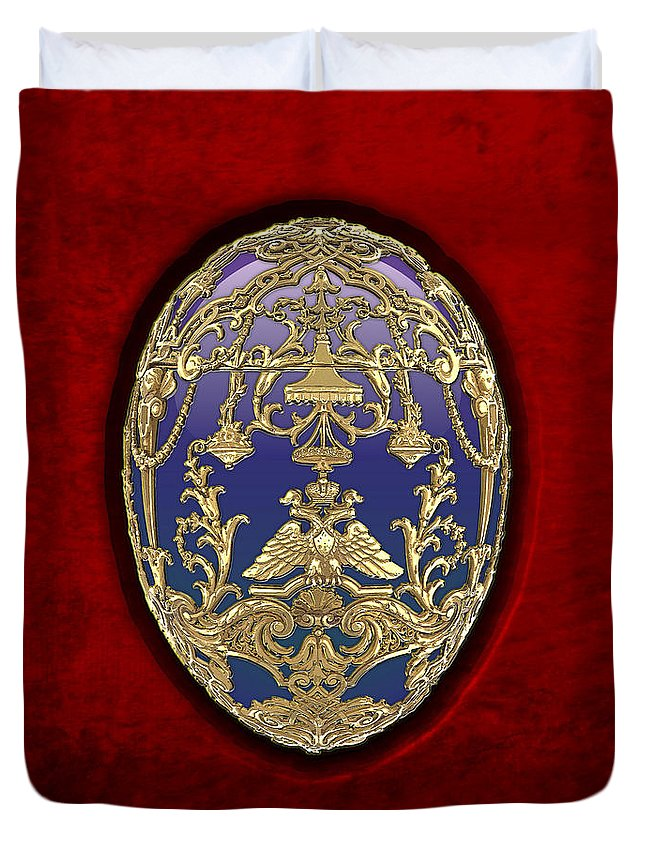 Treasure Trove By Serge Averbukh Duvet Cover featuring the photograph Tsarevich Faberge Egg on Red Velvet by Serge Averbukh