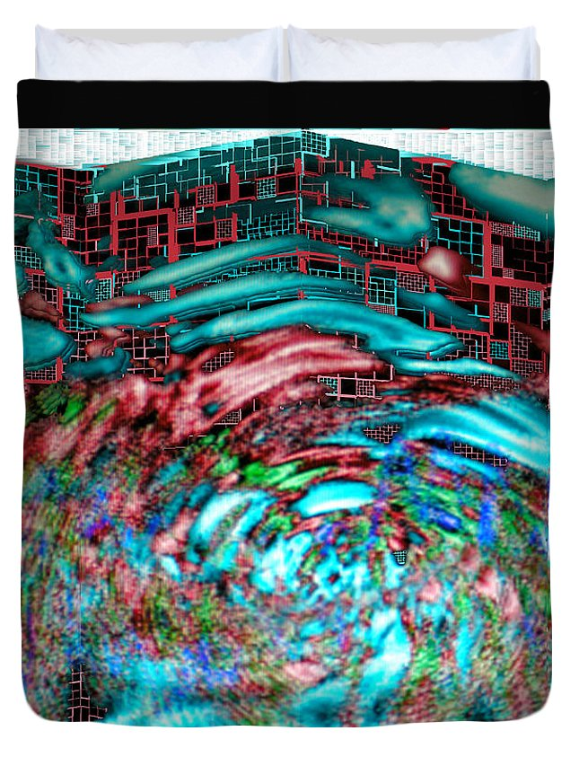 Abstract Duvet Cover featuring the digital art Tsunami Versus Skyscraper by Seth Weaver