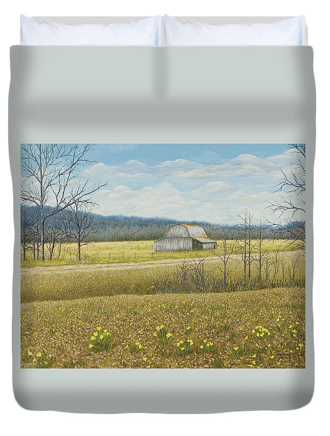 Arkansas Painting Duvet Cover featuring the painting Tucker's Barn by Mary Ann King