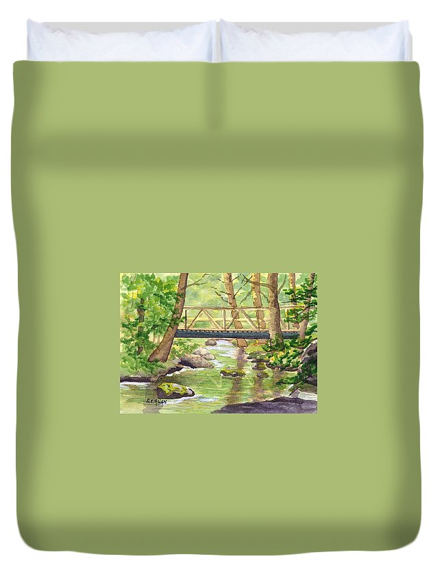 Stream Duvet Cover featuring the painting Tuckers Brook by Sharon E Allen