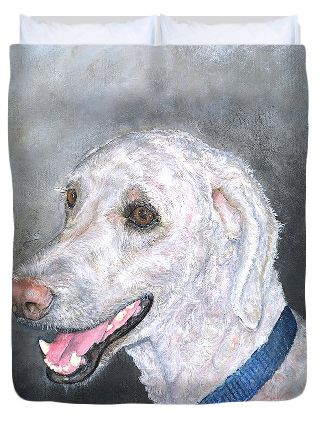 Dog Duvet Cover featuring the painting Tucson by Mary-Lee Sanders