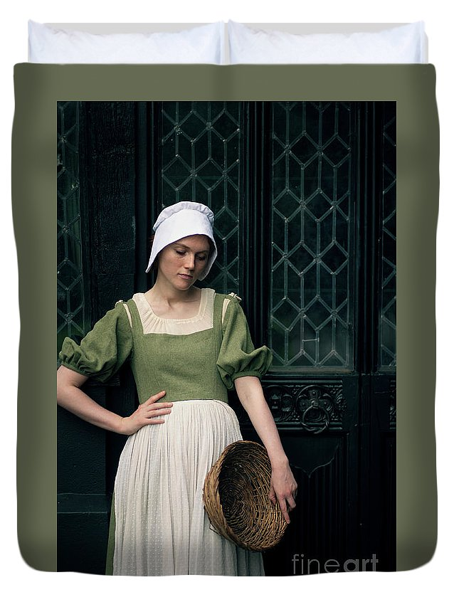 Tudor Duvet Cover featuring the photograph Tudor Woman Outside A Timber Building by Lee Avison
