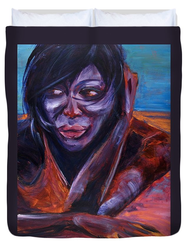 Girl Duvet Cover featuring the painting Tuesday by Jason Reinhardt