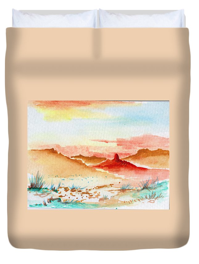 Landscape Duvet Cover featuring the painting Tuesday by Keith Spence