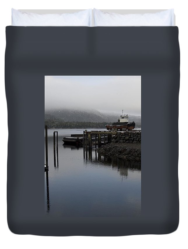 Ocean Duvet Cover featuring the photograph Tug Boat by Sara Stevenson