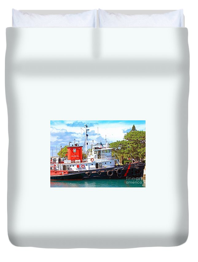 Boat Duvet Cover featuring the photograph Tug On It by Debbi Granruth