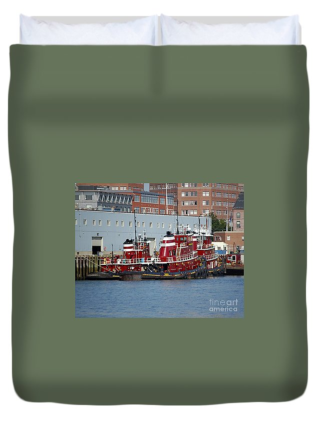 Tug Duvet Cover featuring the photograph Tugs At Rest by Faith Harron Boudreau