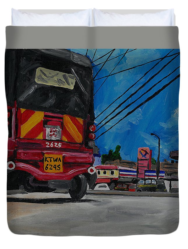Tuk Tuk Duvet Cover featuring the painting Tuk Tuk by Katie Sasser