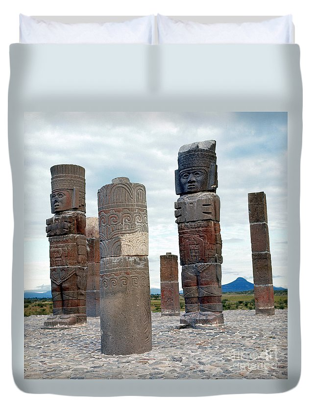 10th Century Duvet Cover featuring the photograph Tula: Toltec Monuments by Granger