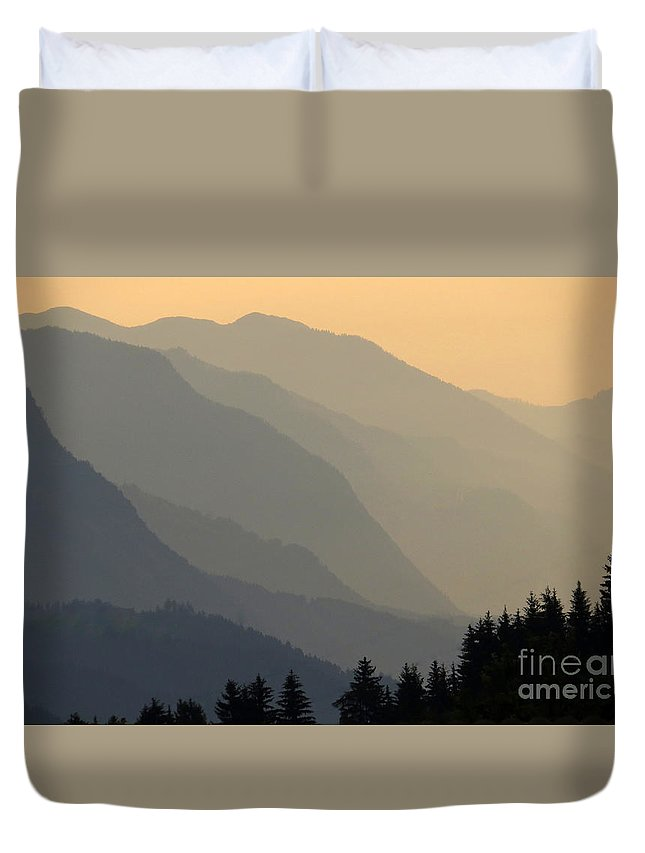 Sunset Duvet Cover featuring the photograph Tulfes Sunset by Frank Townsley