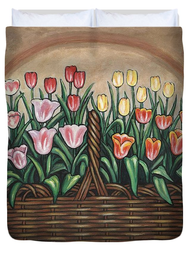 Folk Art Flower Duvet Cover featuring the painting Tulip Basket by Linda Mears
