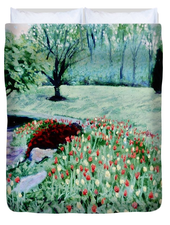 Brookside Garden Tulip Bed With Small Slate Fountain Duvet Cover featuring the painting Tulip Bed And Rock Garden by David Zimmerman