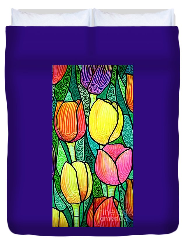 Tulips Duvet Cover featuring the painting Tulip Expo by Jim Harris