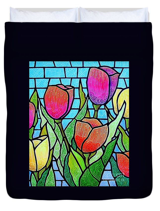 Tulips Duvet Cover featuring the painting Tulip Garden by Jim Harris