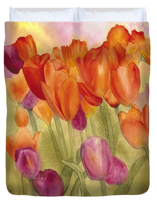 Tulips Duvet Cover featuring the painting Tulip Glory by Louise Magno