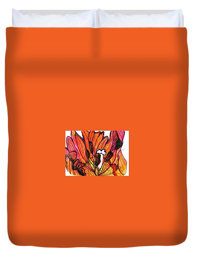 Orange Tulip Close Up Duvet Cover featuring the painting Tulip Macro by Mary Ann Perkins