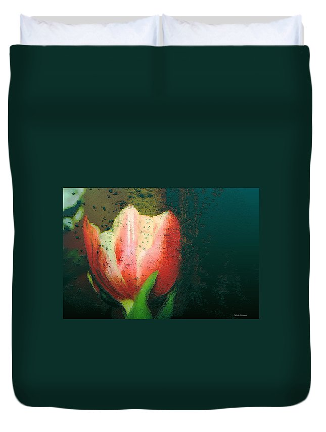 Tulip Duvet Cover featuring the photograph Tulip Of Love by Linda Sannuti