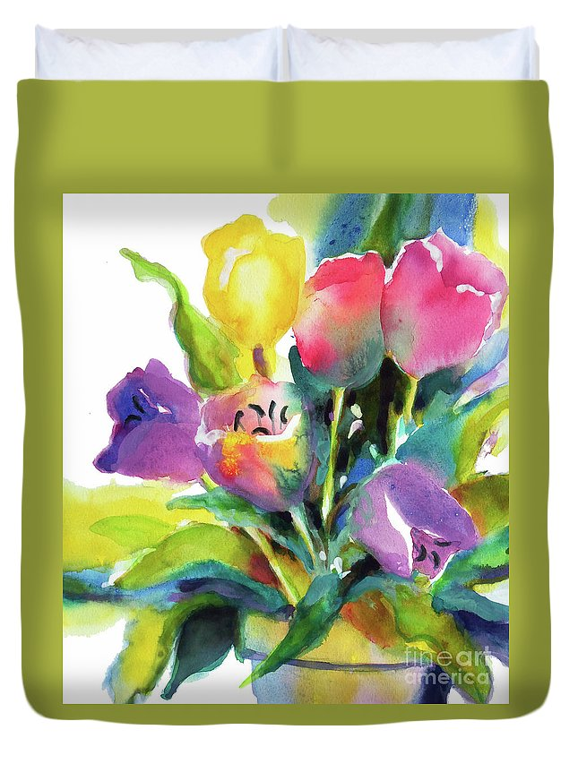 Painting Duvet Cover featuring the painting Tulip Pot by Kathy Braud