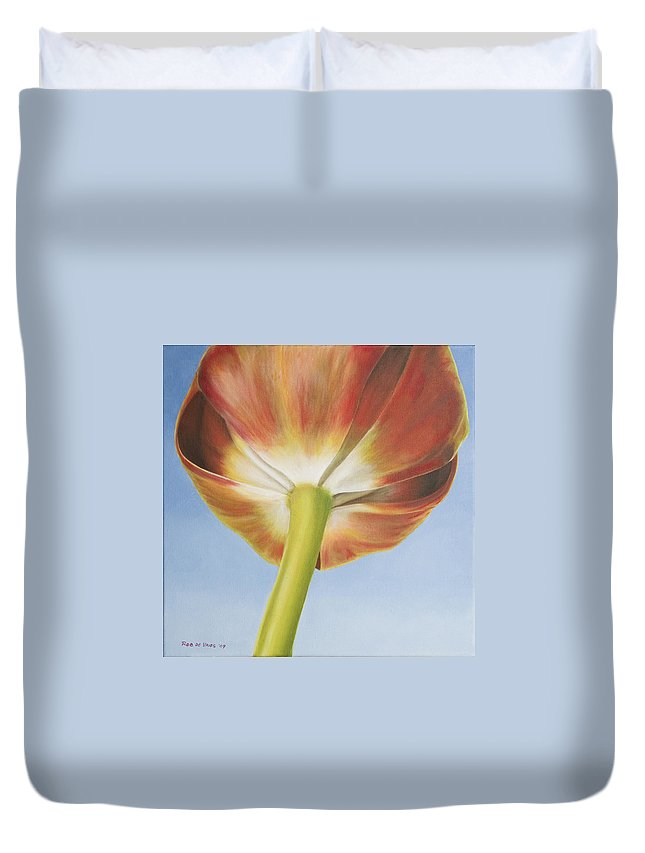 Flower Duvet Cover featuring the painting Tulip by Rob De Vries