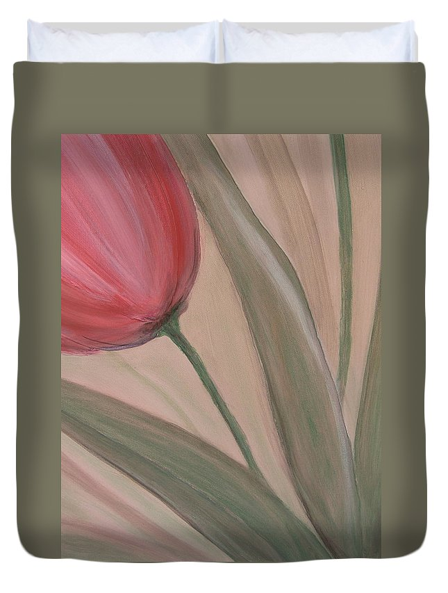 Tulips Duvet Cover featuring the painting Tulip Series 2 by Anita Burgermeister