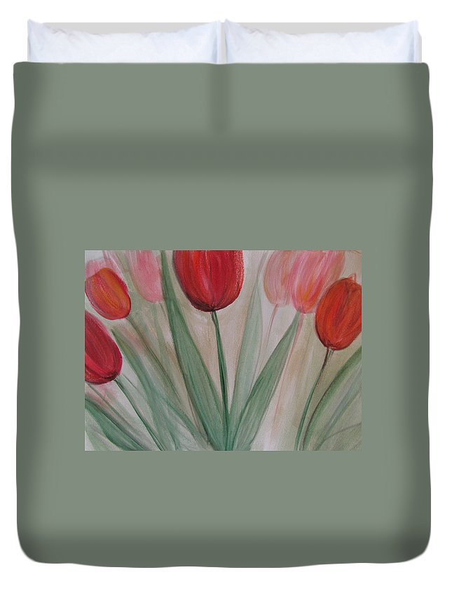 Tulips Duvet Cover featuring the painting Tulip Series 4 by Anita Burgermeister