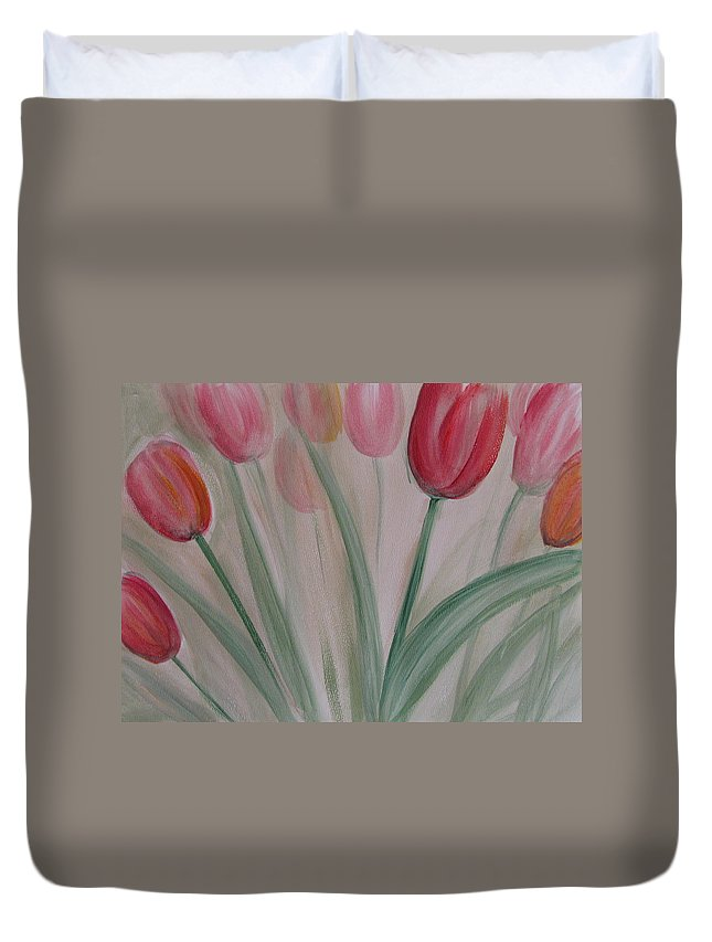 Tulips Duvet Cover featuring the painting Tulip Series 5 by Anita Burgermeister