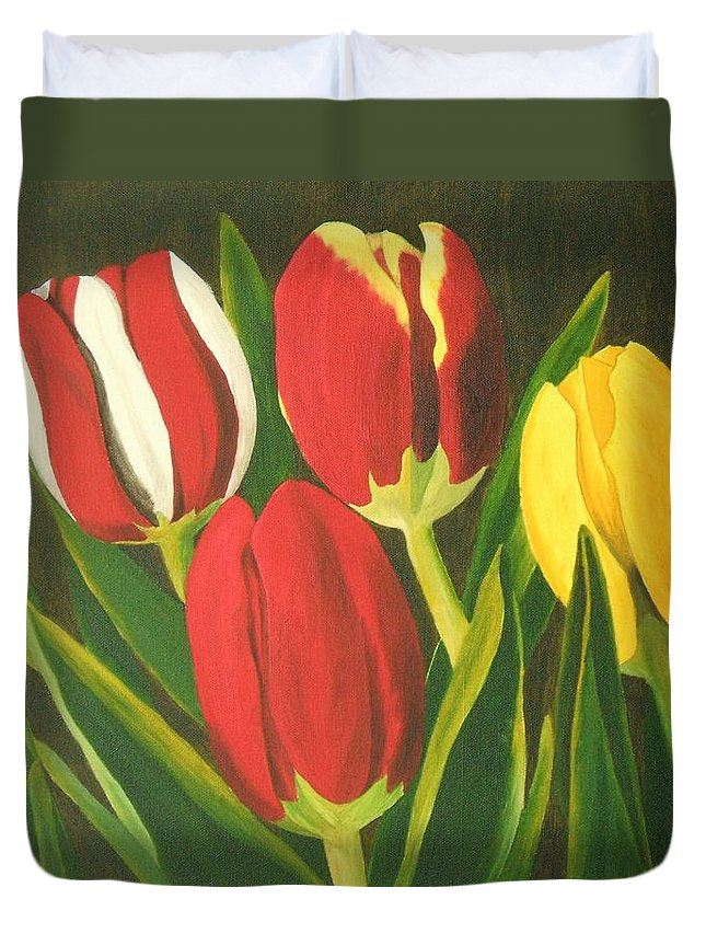 Tulips Duvet Cover featuring the painting Tulip Time by Brandy House