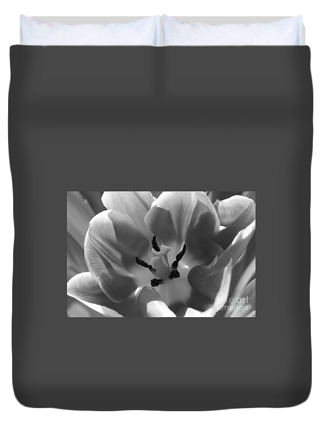 Tulips Duvet Cover featuring the photograph Tulip Tones by Clare Bevan