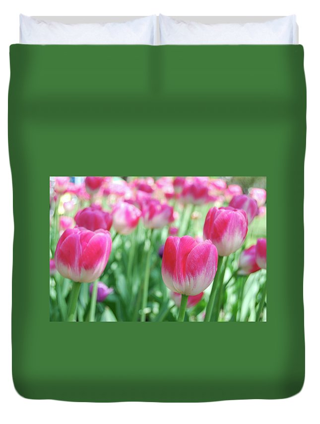 Flower Duvet Cover featuring the photograph Tulips 2 by Michael Peychich
