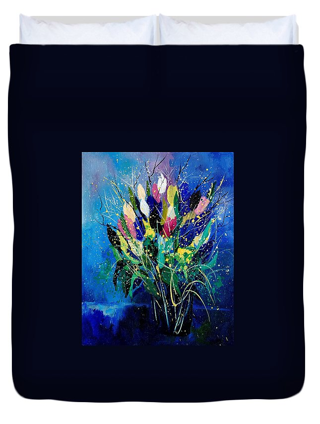 Flowers Duvet Cover featuring the painting Tulips 45 by Pol Ledent