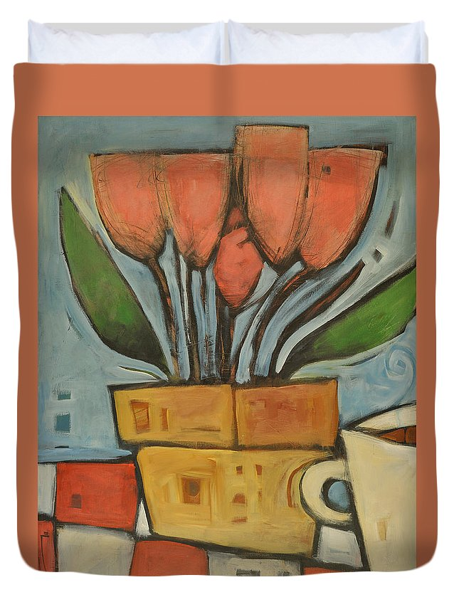 Tulips Duvet Cover featuring the painting Tulips And Coffee by Tim Nyberg