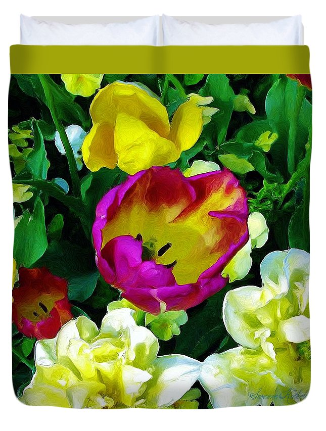 Flowers Duvet Cover featuring the painting Tulips And Flowers by Susanna Katherine