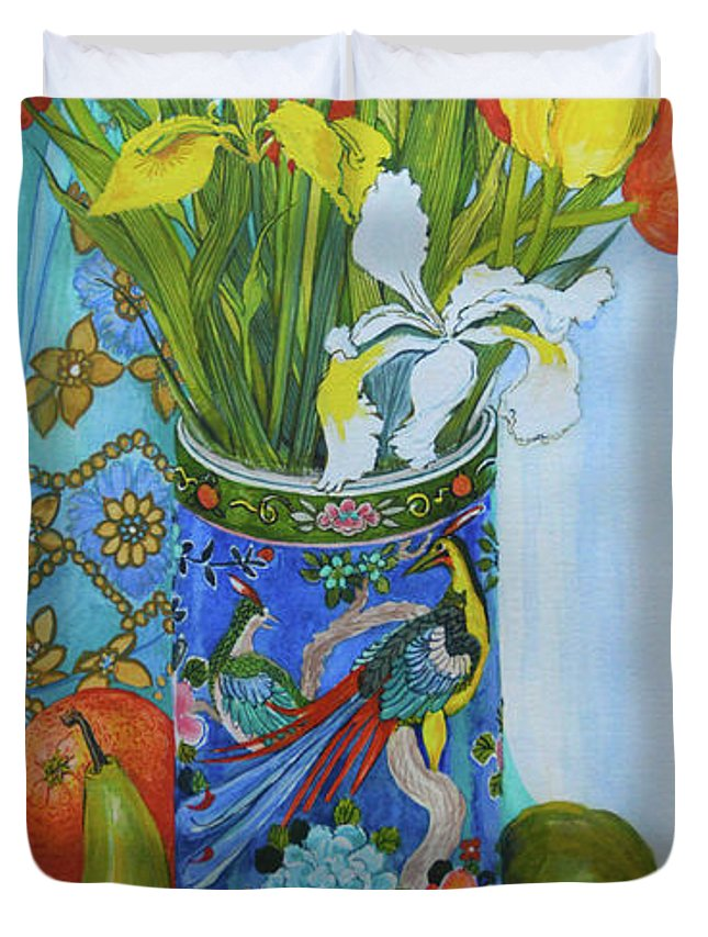 Still-life Duvet Cover featuring the painting Tulips And Iris In A Japanese Vase, With Fruit And Textiles by Joan Thewsey