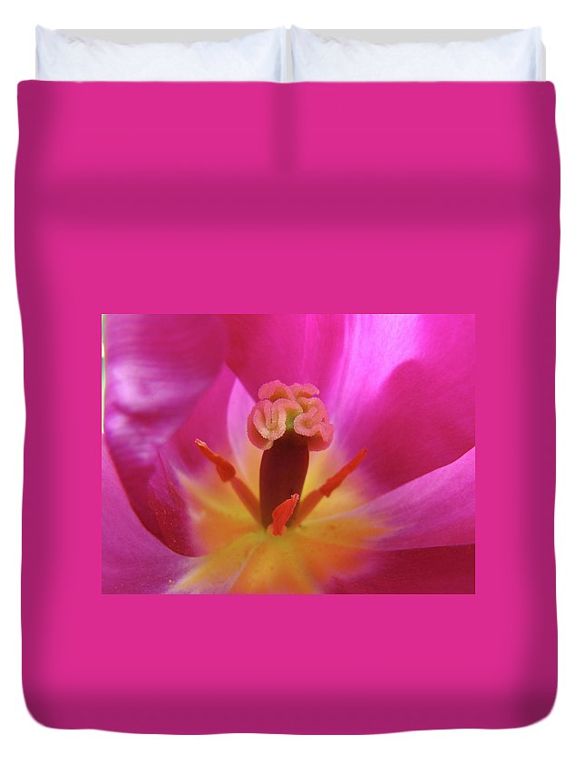 �tulips Artwork� Duvet Cover featuring the photograph Tulips Artwork Pink Purple Tuli Flower Art Prints Spring Garden Nature by Baslee Troutman