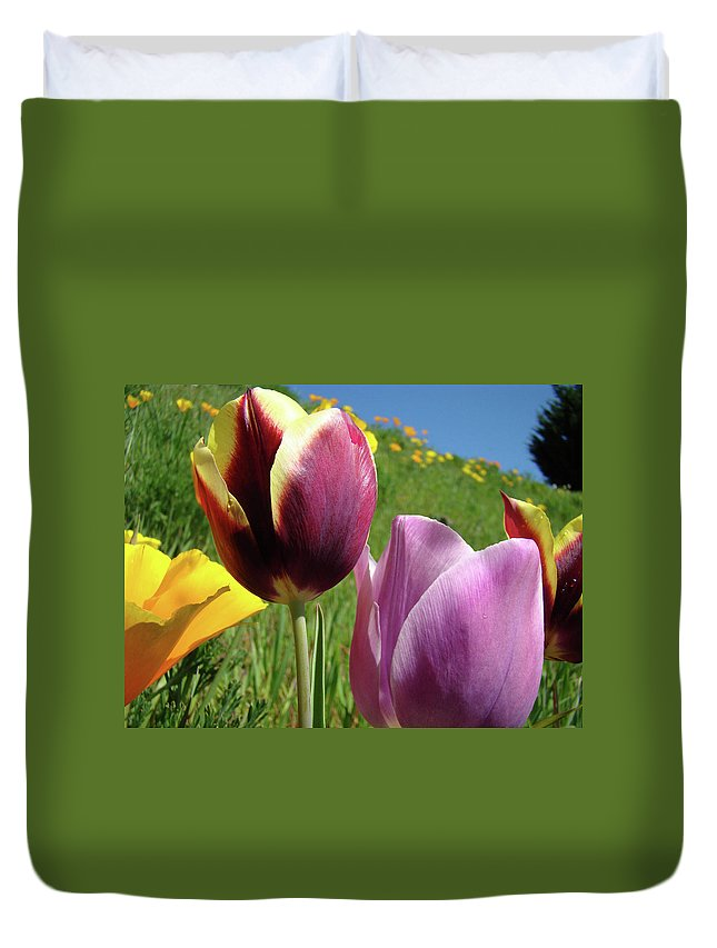 �tulips Artwork� Duvet Cover featuring the photograph Tulips Artwork Tulip Flowers Spring Meadow Nature Art Prints by Baslee Troutman