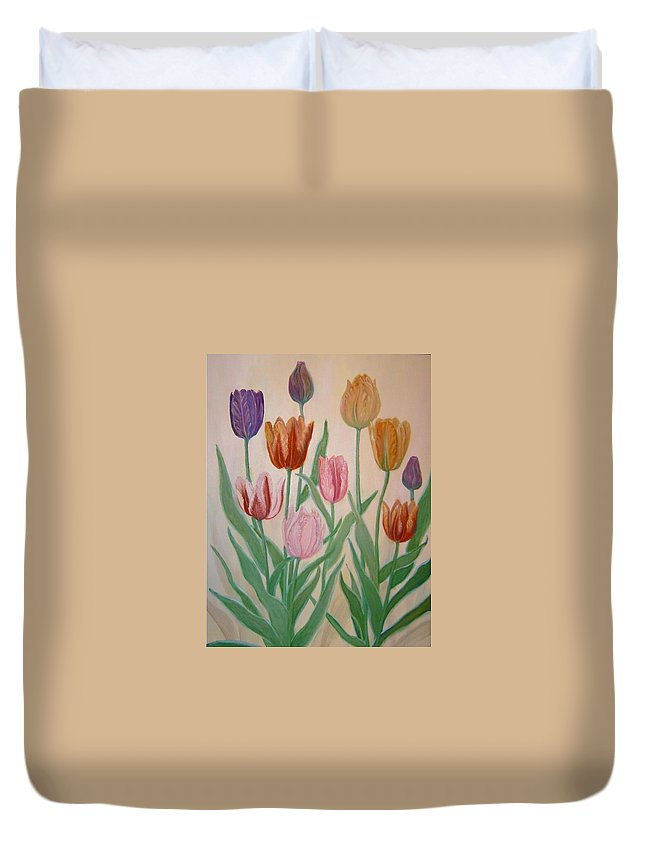 Flowers Of Spring Duvet Cover featuring the painting Tulips by Ben Kiger