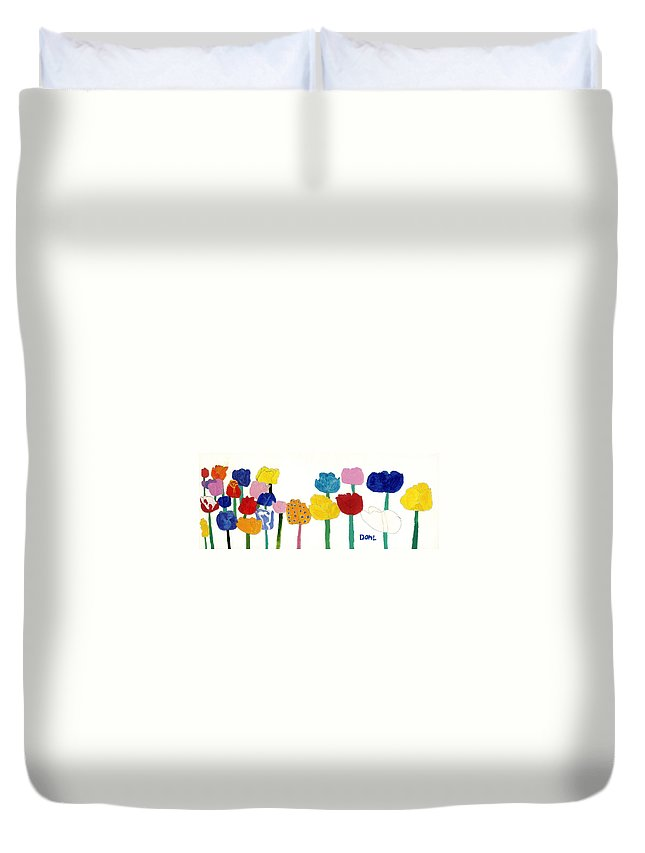 Duvet Cover featuring the painting Tulips by Don Larison