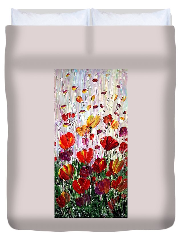 Flowers Duvet Cover featuring the painting Tulips Flowers Garden Seria by Luiza Vizoli