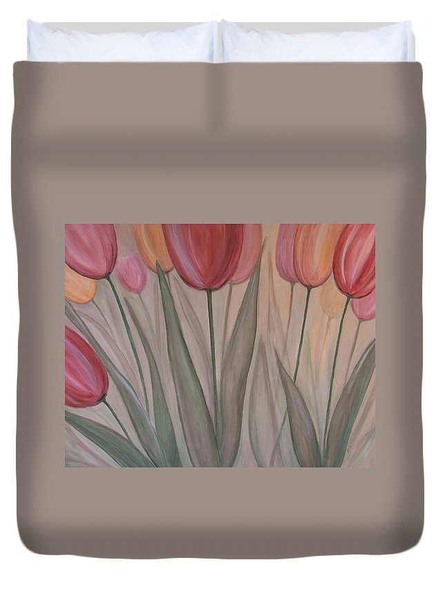 Tulips Duvet Cover featuring the painting Tulips For Carol by Anita Burgermeister