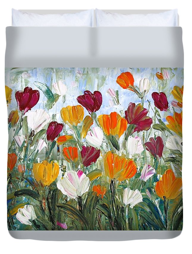 Oil Duvet Cover featuring the painting Tulips Garden by Luiza Vizoli