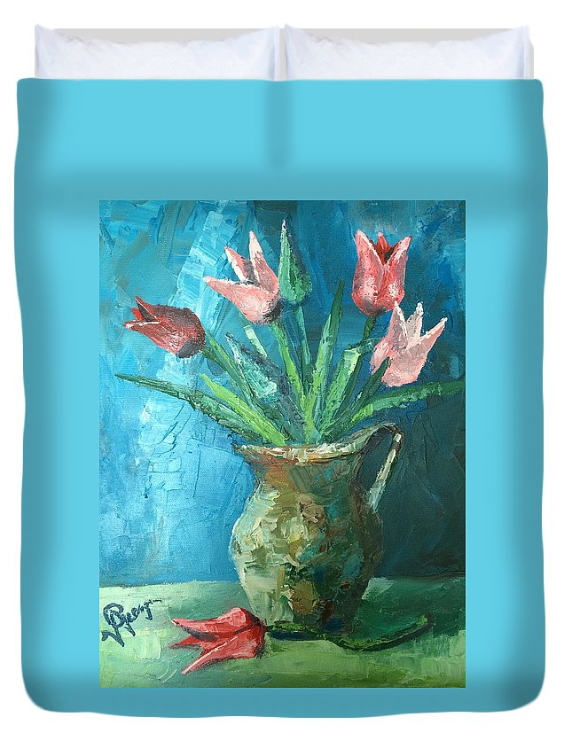 Tulips Duvet Cover featuring the painting Tulips by Georgescu George