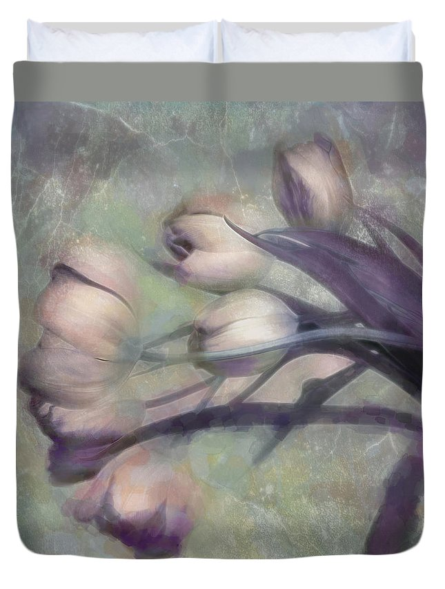 Tulips Duvet Cover featuring the photograph Tulips Going West by Hal Halli