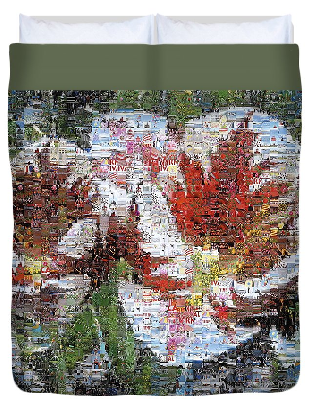 Lighthouse Duvet Cover featuring the photograph Tulips In Springtime Photomosaic by Michelle Calkins