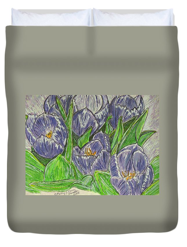 Tulips Duvet Cover featuring the painting Tulips In The Spring by Kathy Marrs Chandler