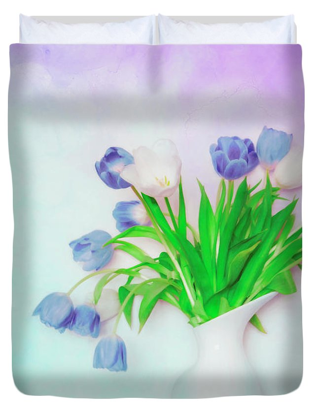 Flowers Duvet Cover featuring the photograph Tulips In Winter by Hal Halli