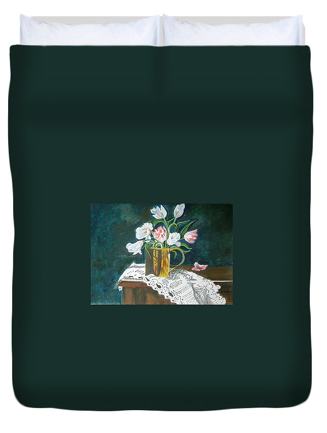 Tulips Duvet Cover featuring the painting Tulips by Manjiri Kanvinde