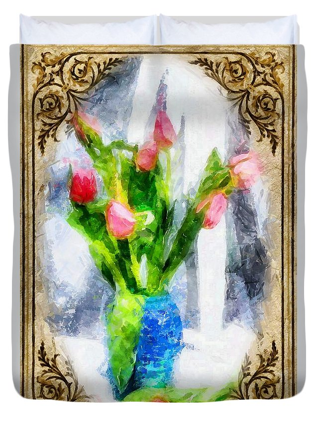 Flowers In Vase Duvet Cover featuring the digital art Tulips On A Half Shelf by Mario Carini