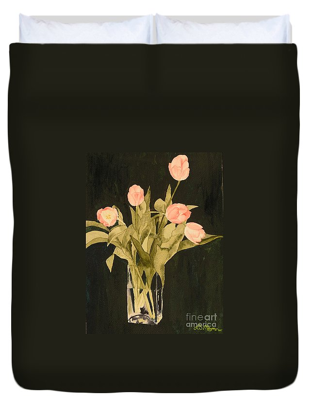 Tulips Duvet Cover featuring the painting Tulips On Velvet by Louise Magno