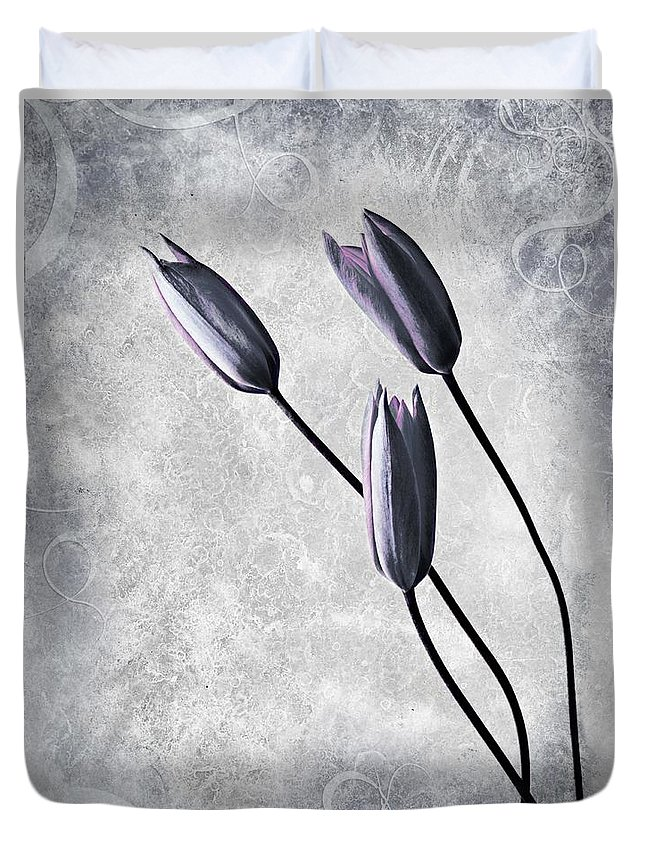 Flowers Duvet Cover featuring the photograph Tulips by Jacky Gerritsen